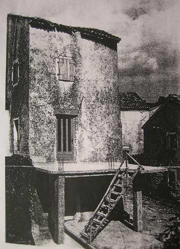 Bild vom Turm beim Umbau um 1970